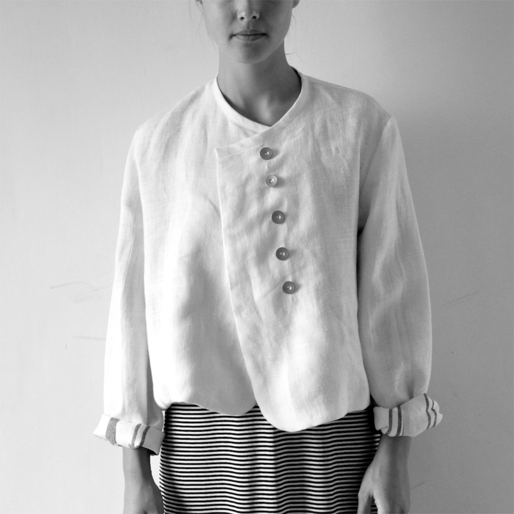 Jacket, thick white linen