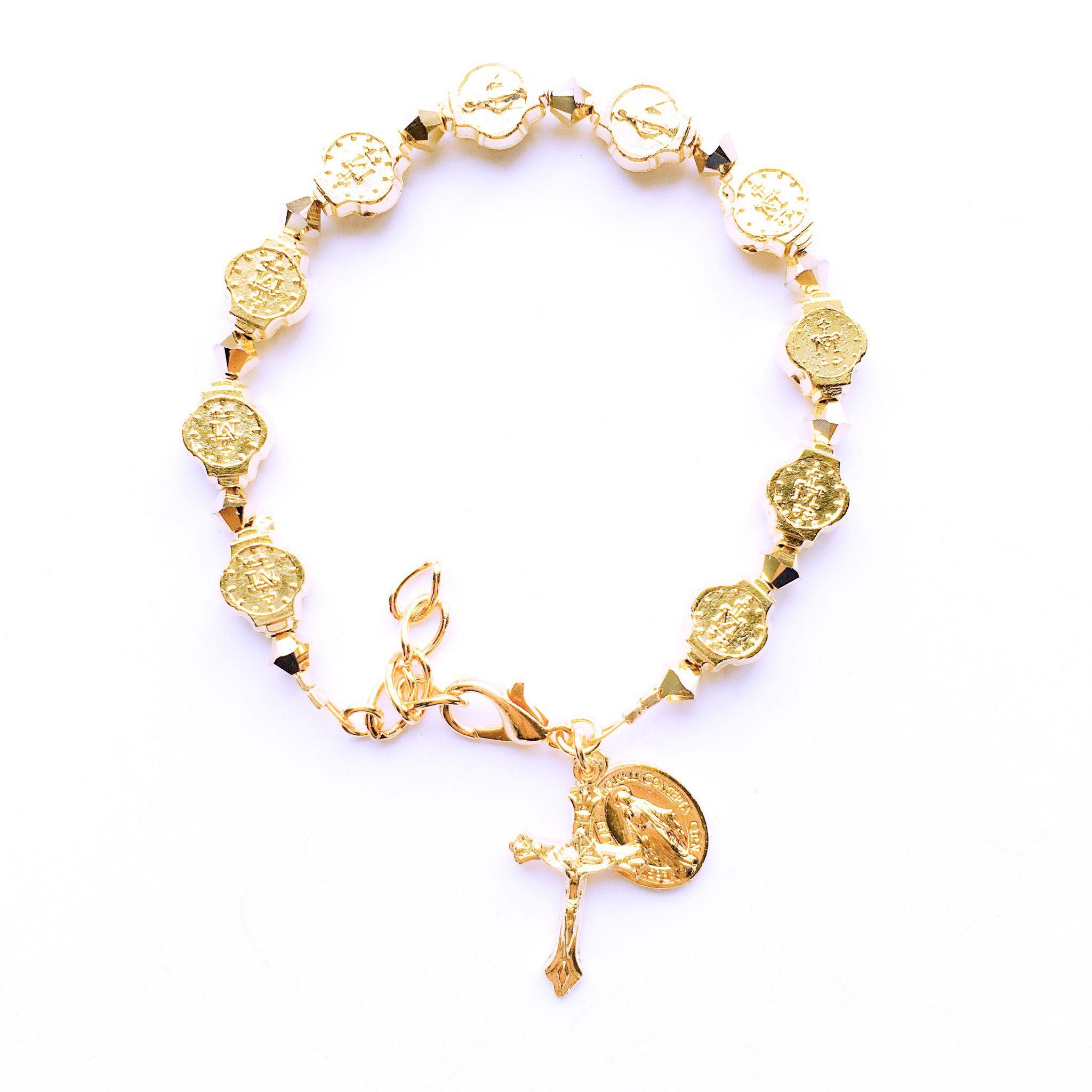 Gold miraculous medal charm bracelet wswarovski elements jewelry