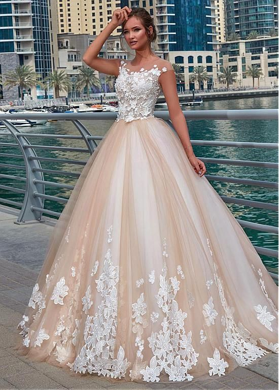 Buy discount Glamorous Tulle Sheer Jewel Neckline Ball Gown Wedding Dress With Lace Appliques & 3D Flowers at Dressilyme.com
