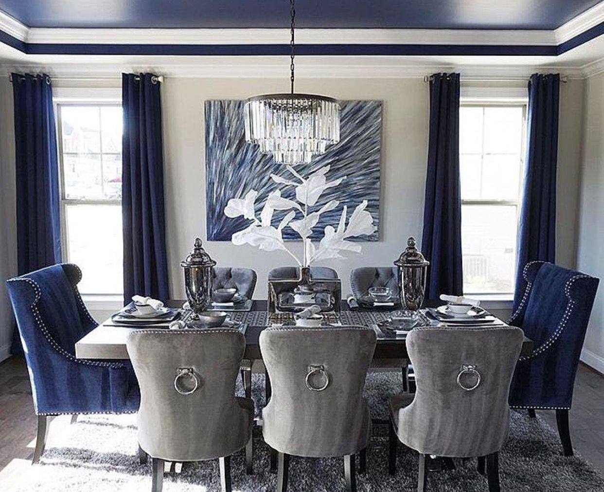 Best Sophisticated Dining Room Navy And Grey Combination 400 x 300
