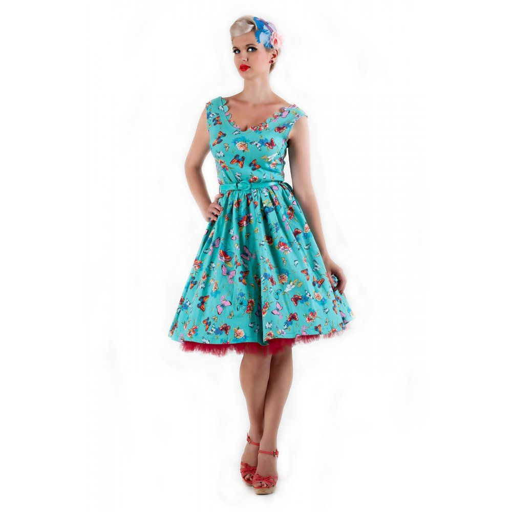 Daria' 1950's Vintage Inspires Turquoise Butterfly Print Swing ...