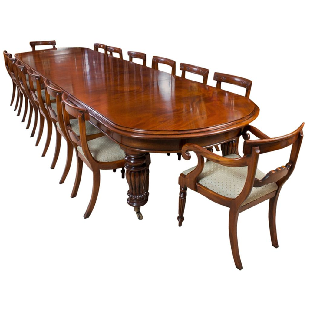 Vintage Victorian Mahogany Dining Table With 14 Chairs From A
