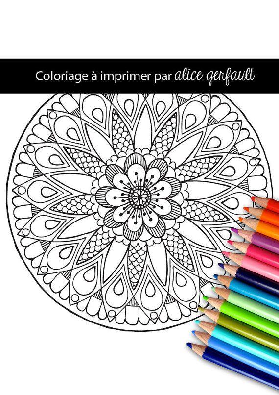 Mandala avec une fleur dessin la main pdf au format a4 - Telecharger coloriage a imprimer ...