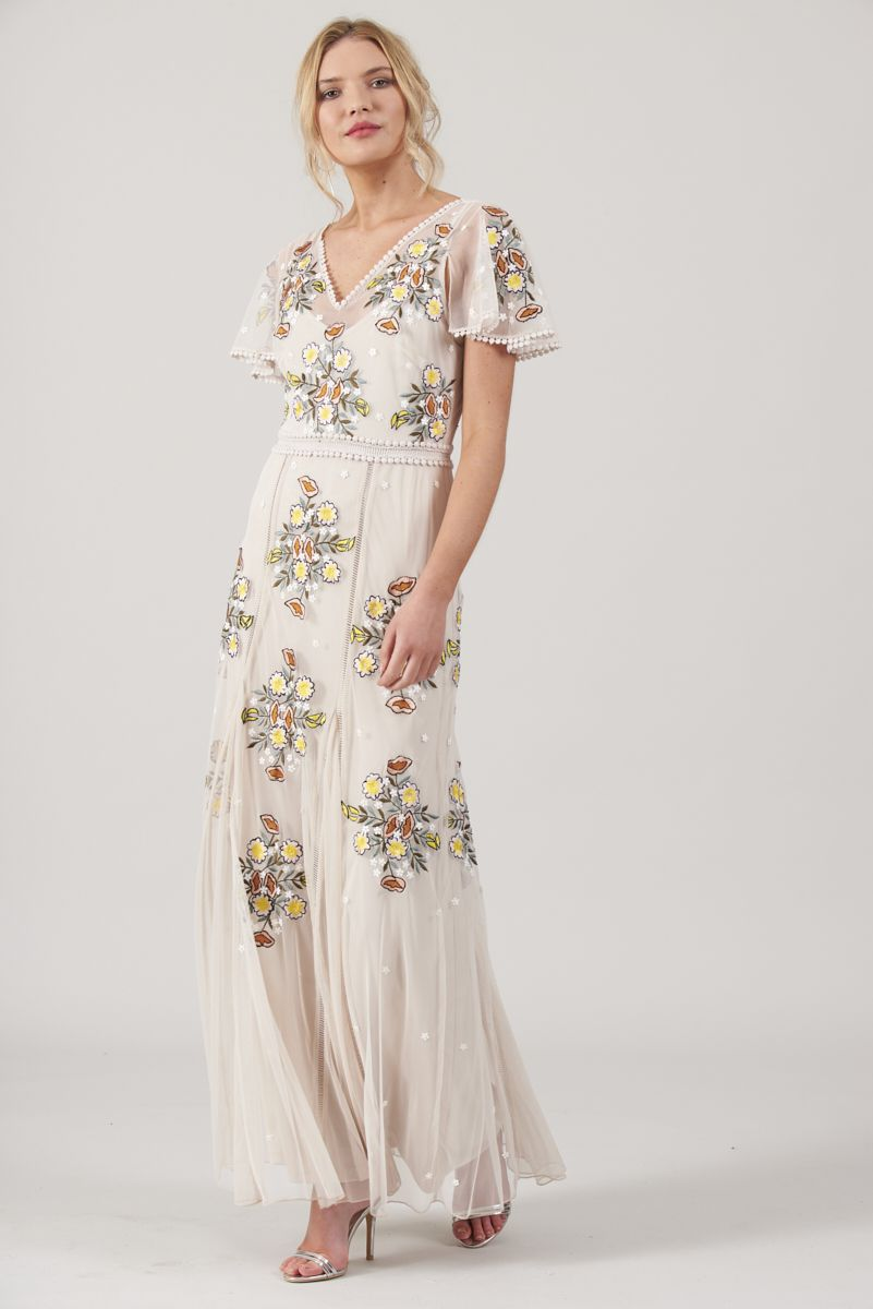 a96d9b2a902 Frock and Frill Clea Embellished Cap Sleeve Maxi Dress