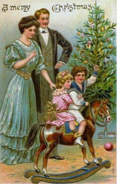 vintage card christmas family