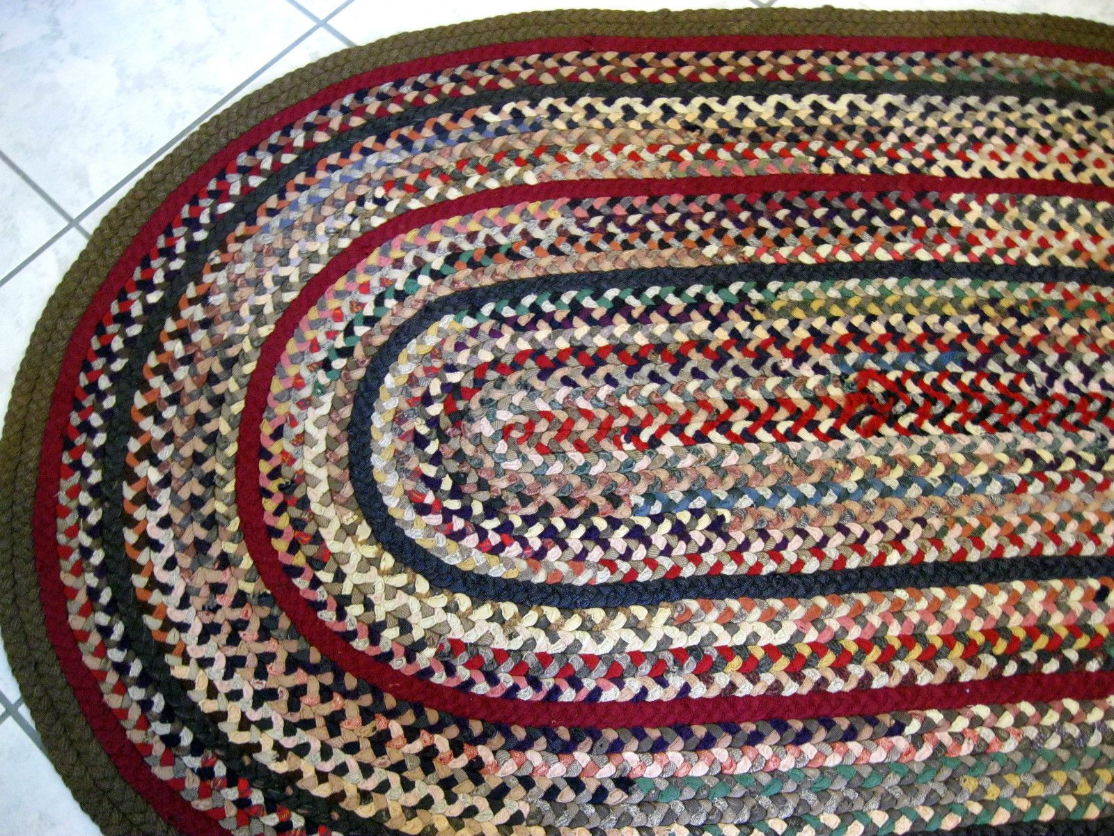 Antique Vintage Wool Handmade Braided
