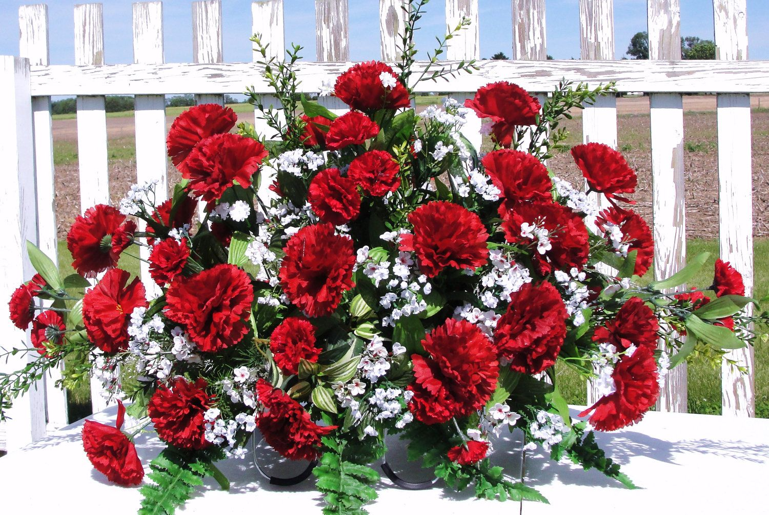 Red Blue Yellow Or Rainbow Carnations Silk Flower Cemetery