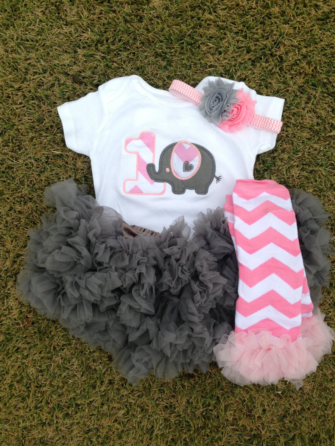 Grey And Pink Chevron Elephant Birthday Outfit 1st By
