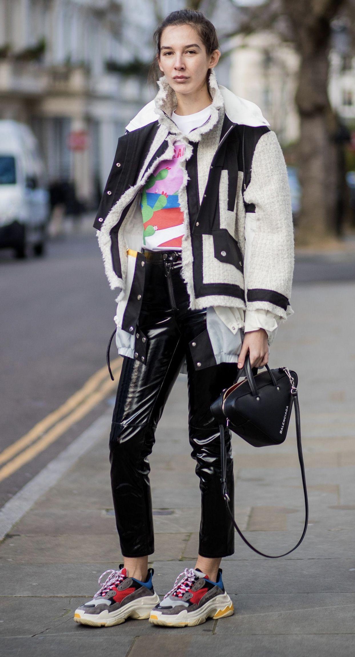 Balenciaga Handbag Triple S Trainers On Estelle Pigault