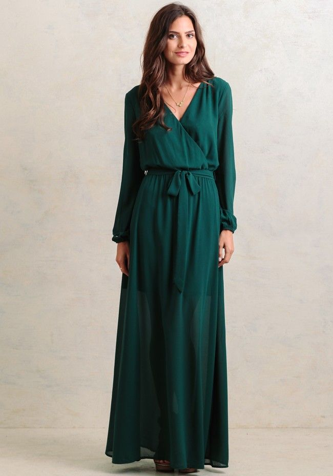 0decb5882bb Look stunning in this green silk-blend maxi dress featuring a surplice  neckline with snap-button closure and sheer long sleeves with elastic cuffs.