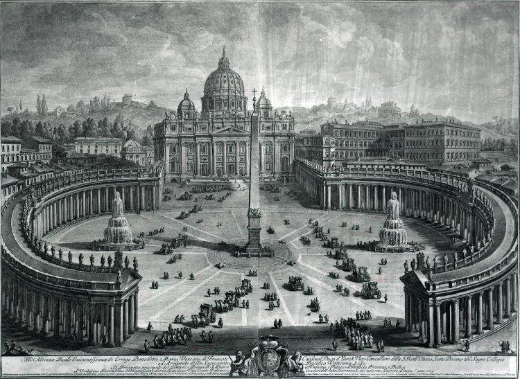 View from above of St Peter's basilica and the piazza before it, with hills behind. 1774 Etching from two plates on two sheets joined down the centre; a later impression discoloured and laid on linen