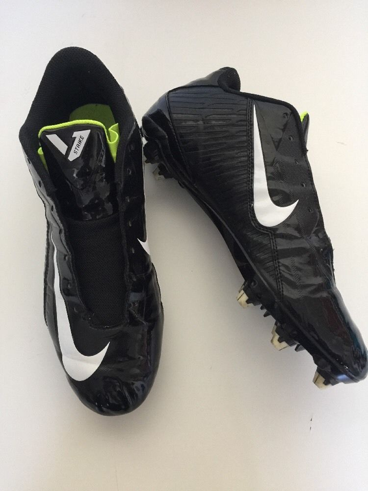 Nike Football Cleats Vapor Strike Sz 11.5 Black & White Missing Laces | eBay