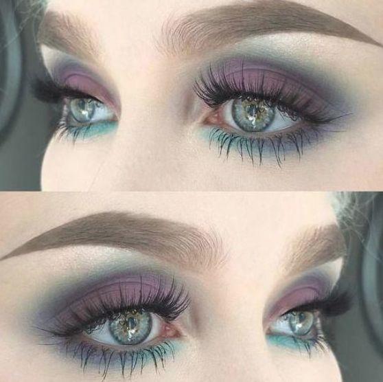 Fascinating purple eye makeup look for green eyes