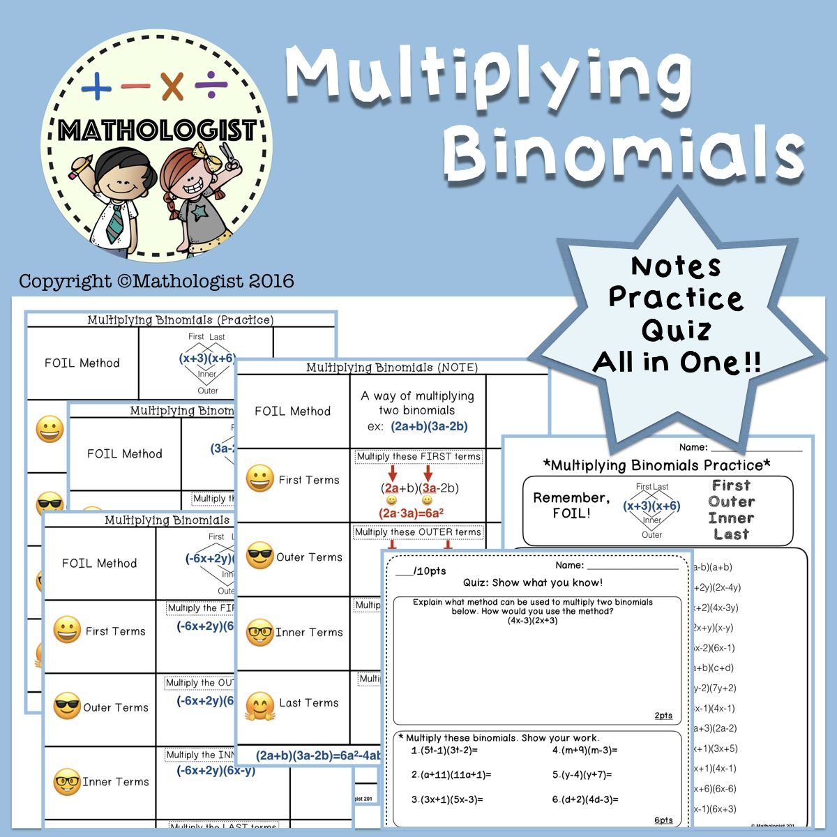 Multiplying Binomials Algebra Worksheets