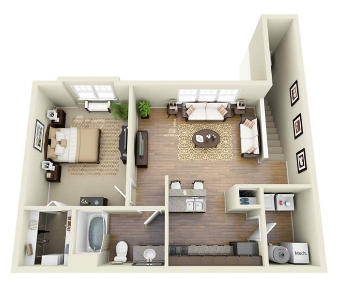 Floorplan one room apartment google search house phase for Garage apartment plans with kitchen