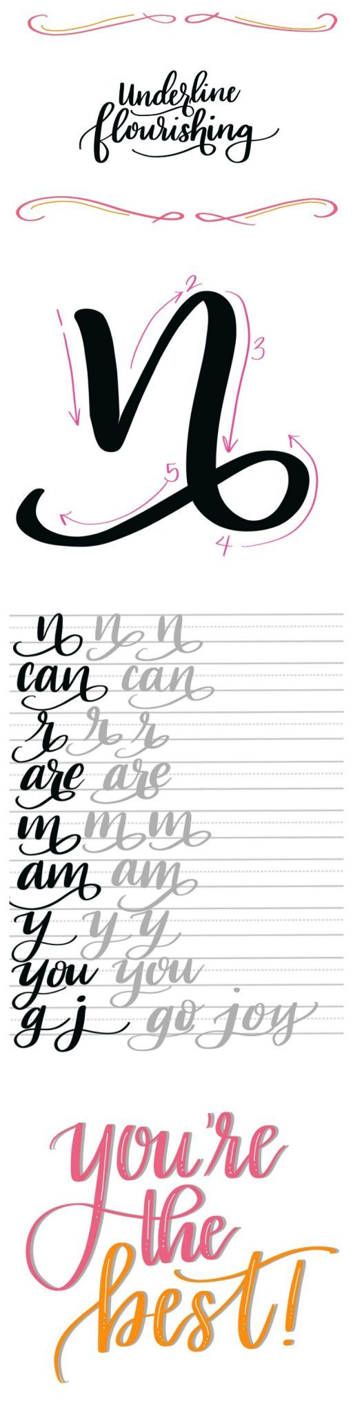 Hand Lettering: Flourish Tutorial & Free Printable Practice