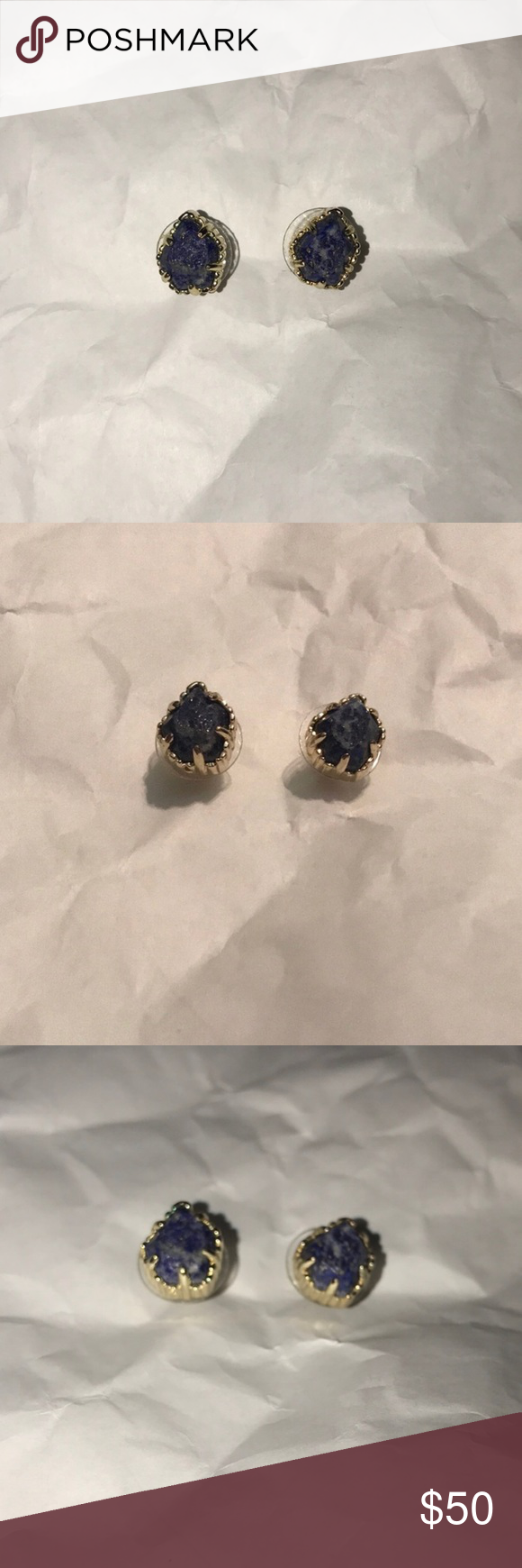 Kendra scott lapis blue stone gold earrings great condition and