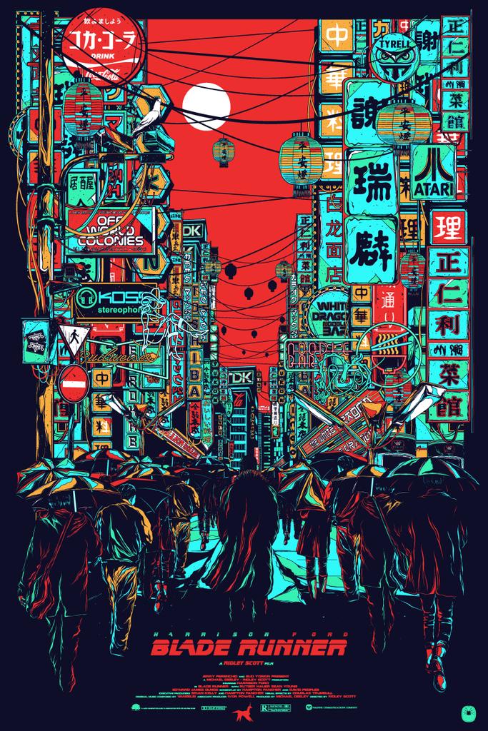 Blade Runner Black Light Night By Mainger 街 イラスト アートポスター グラフィックアート