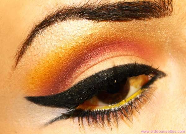 gorgeous and simple, the orange highlighting works well with dark eyes