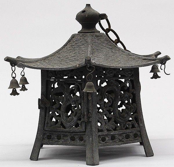 Description Japanese Bronze Hanging Lantern Of Hexagonal