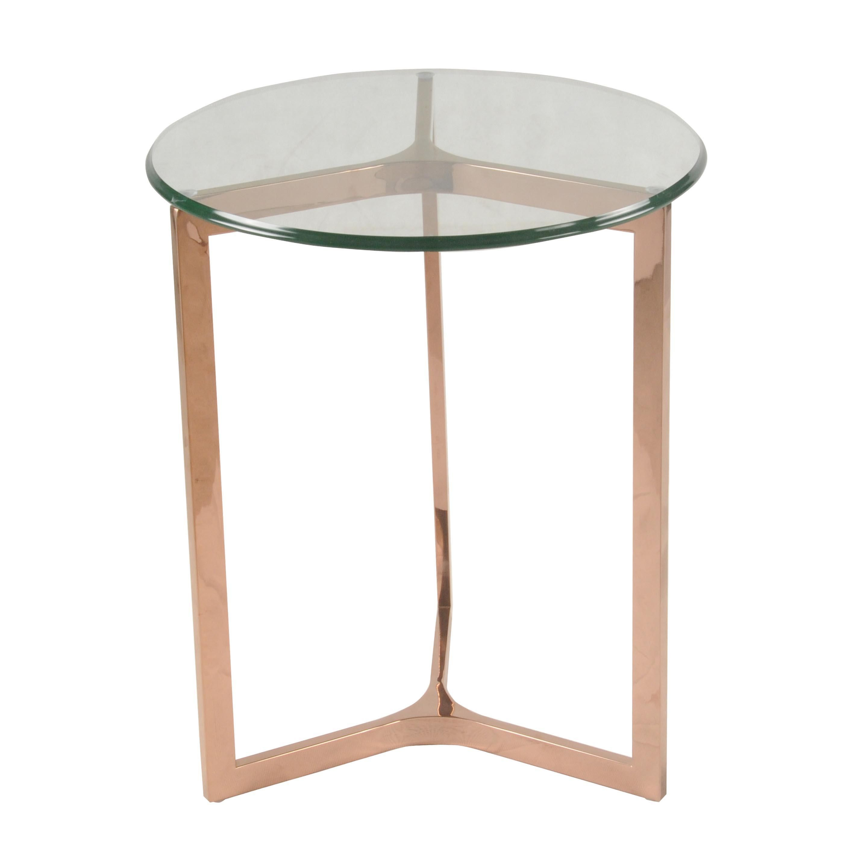 Add Some Glamour With The San Clemente Side Table Made Of Stainless Steel And Tempered Gl