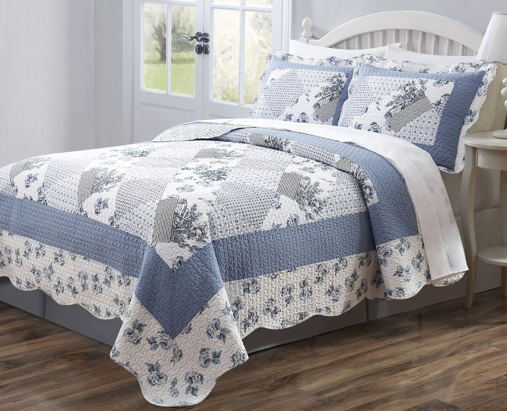 3 Pc Quilt Bedspread Blue White Floral Patchwork Design Full Queen King Size Bed Spreads Blue Quilts Quilt Sets