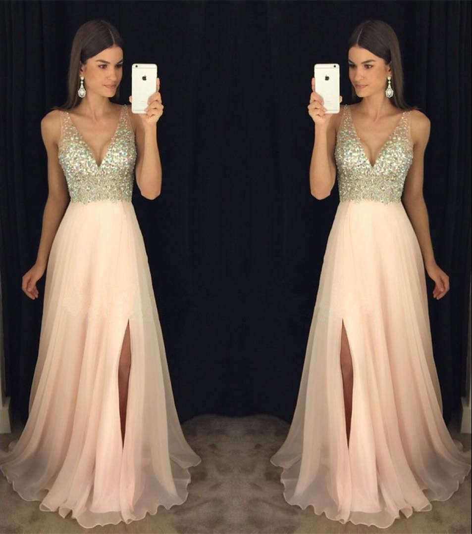 New arrival prom dressmodest prom dresssparkly crystal beaded v