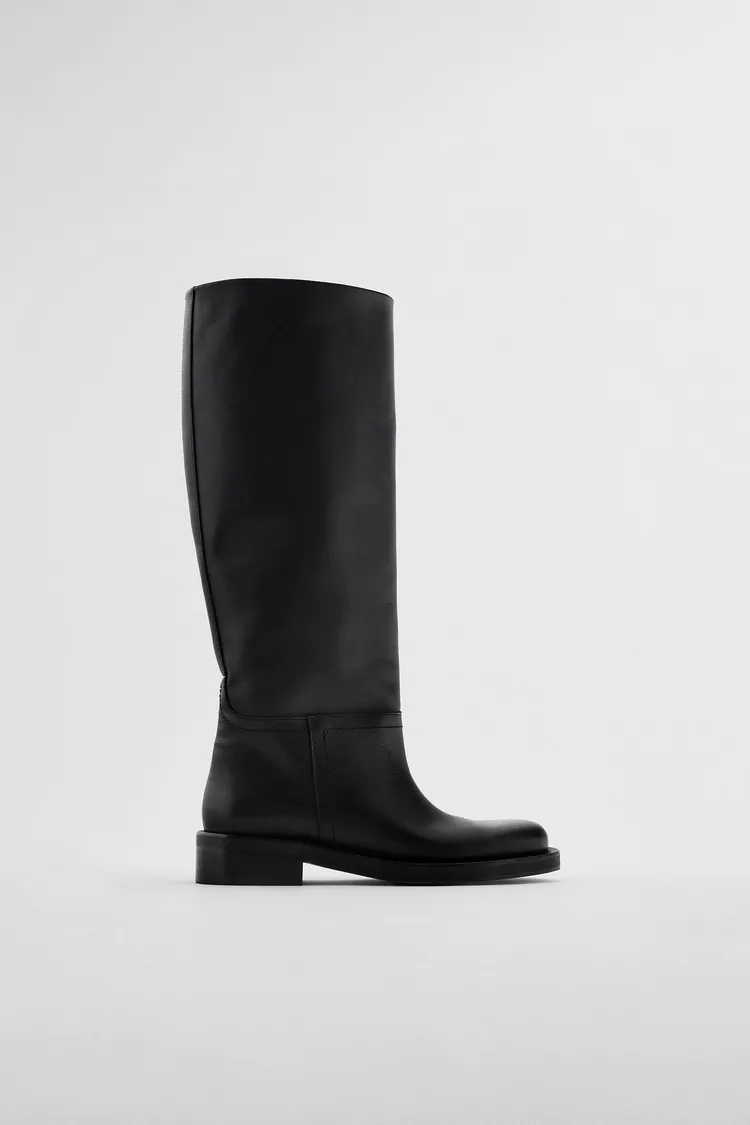 Women S Just In Clothes Zara United States Boots Tall Leather Boots Leather Boots