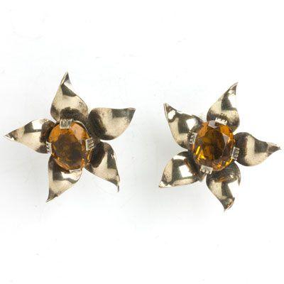1940s Vintage Jewelry - Golden Topaz & Vermeil Sterling Flower Retro Modern Earrings