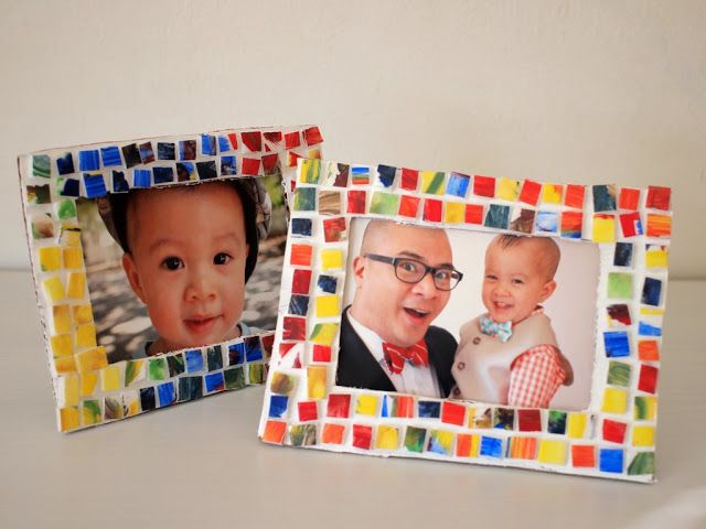 Painted Mosaic Styrofoam Tile Picture Frame Picture Frame Crafts
