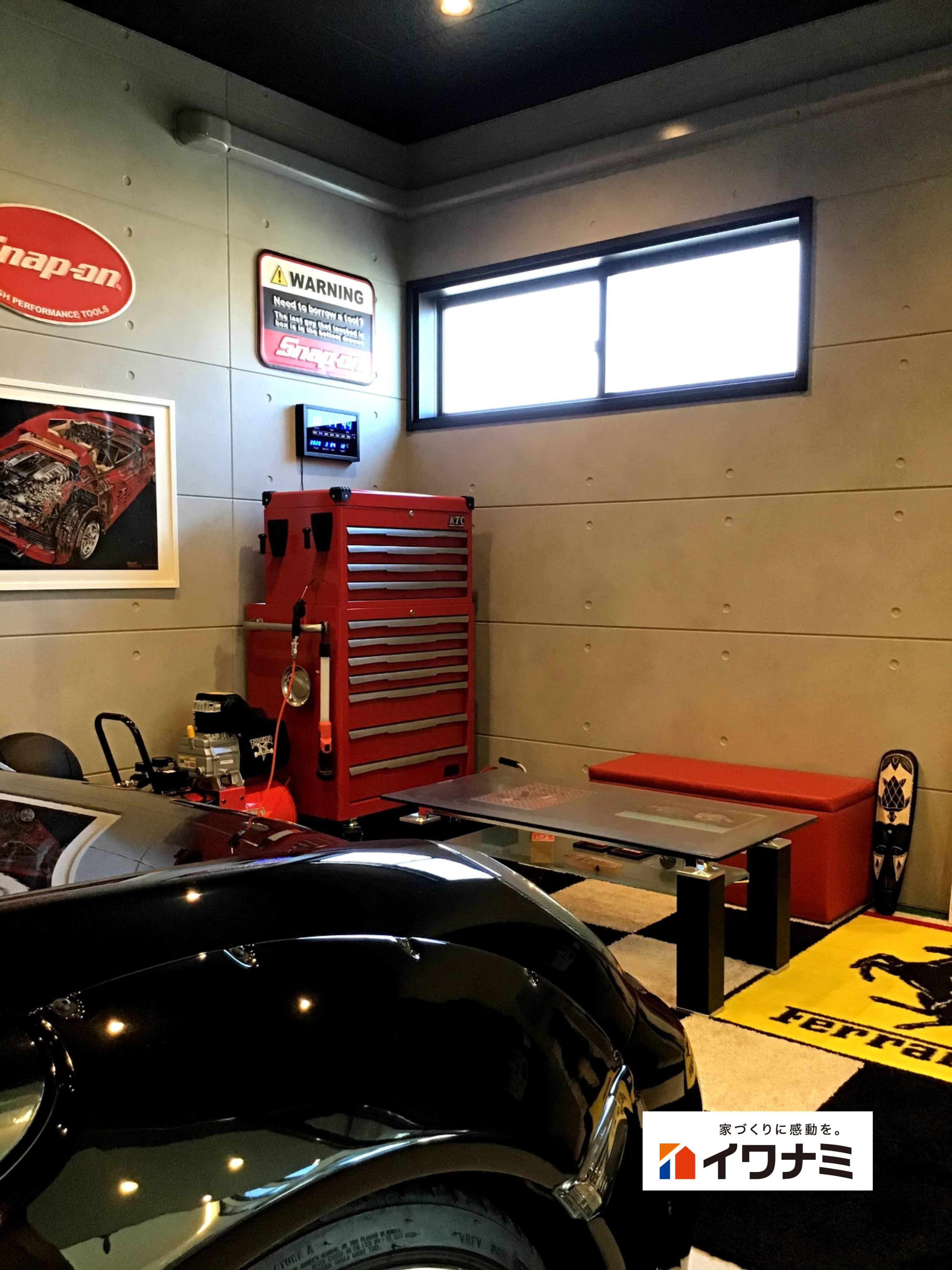 ガレージ内にも 車を眺めるスペースを インナーガレージ ガレージ