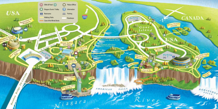 Niagara State Park Map Niagara Falls Map Niagara Falls