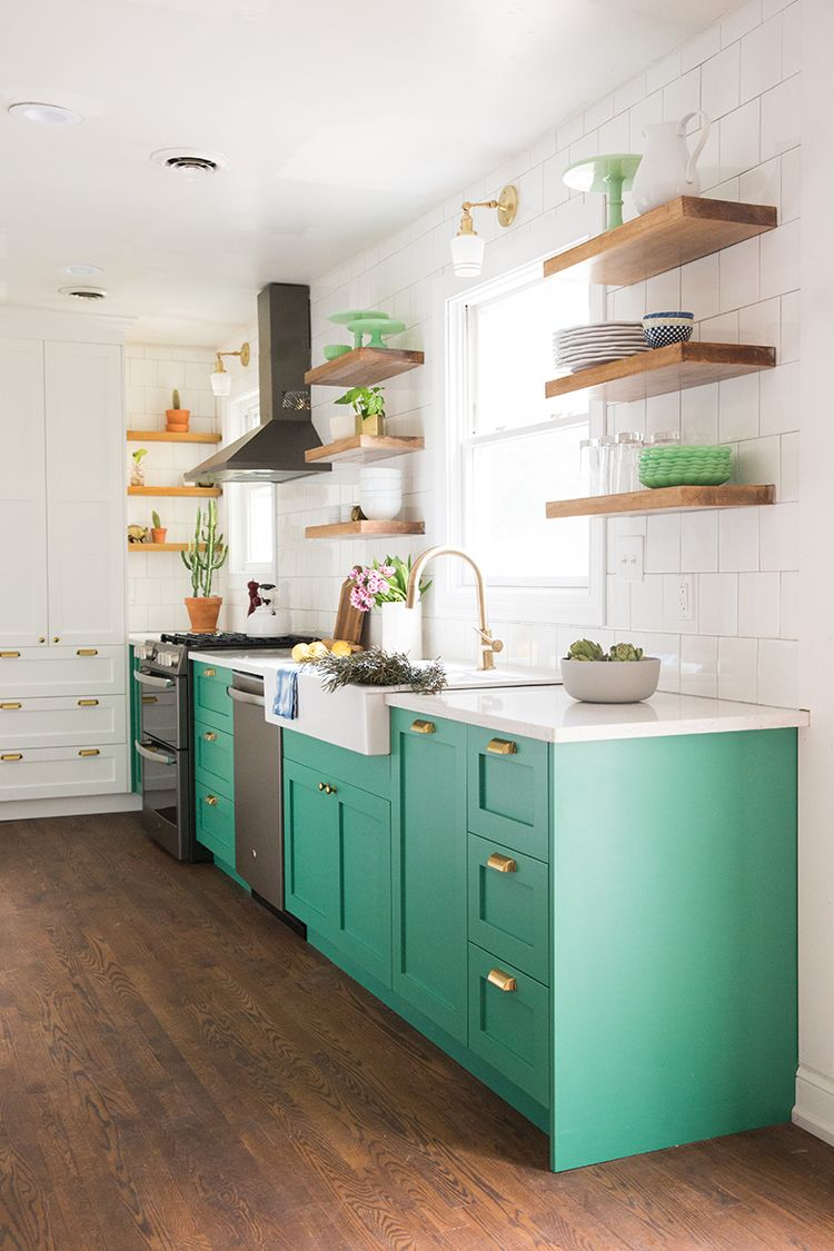 Make A Big Impact With Ge Kitchen Appliances From The Home Depot Green Kitchen Cabinets Teal Kitchen Cabinets Kitchen Remodel Cost