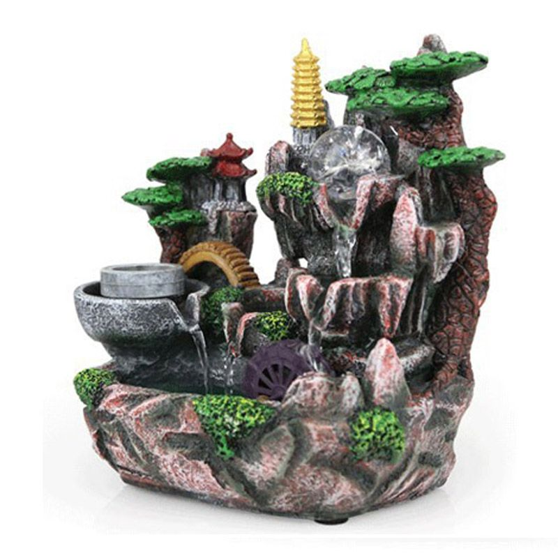 Good 110V/220V Resin Decoration Rockery Decorative Indoor Water Fountains  Humidifier Home Decorations Artificial Mountains Crafts