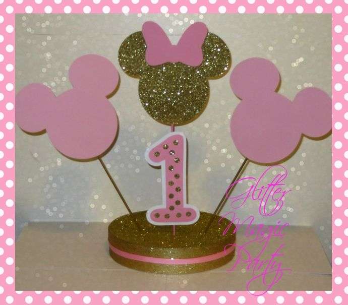 MINNIE MOUSE CENTERPIECE Gold and Pink Made to Order Minnie mouse, Centerpieces and Mice