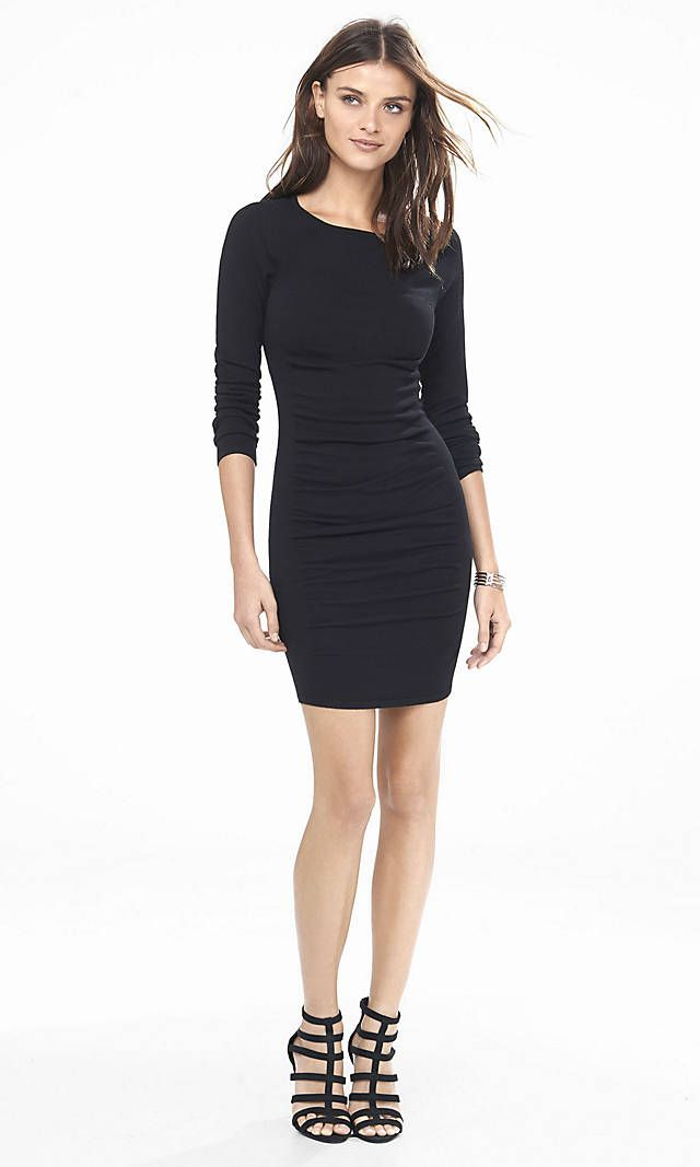 Black Ruched Sweater Dress Express Buy Clothing Pinterest