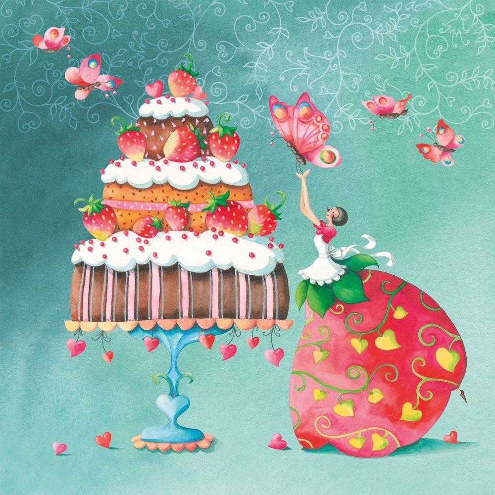 4 Lunch Paper Napkins for Decoupage Craft Vintage Napkin Strawberry Cake 9120050751378   eBay