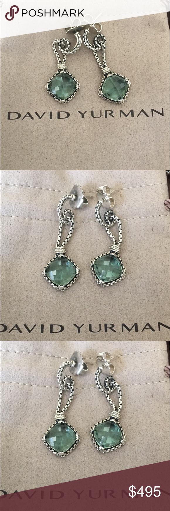 David Yurman Dangle Drop Prasiolite Earrings Cushion On Point
