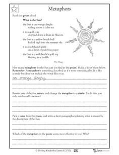 Worksheet Making Metaphors With Images Reading Worksheets
