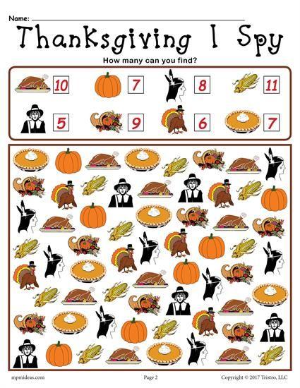 Thanksgiving I Spy Printable Thanksgiving Counting Worksheet Thanksgiving Kindergarten Thanksgiving Worksheets Thanksgiving Lessons Preschool thanksgiving worksheets free
