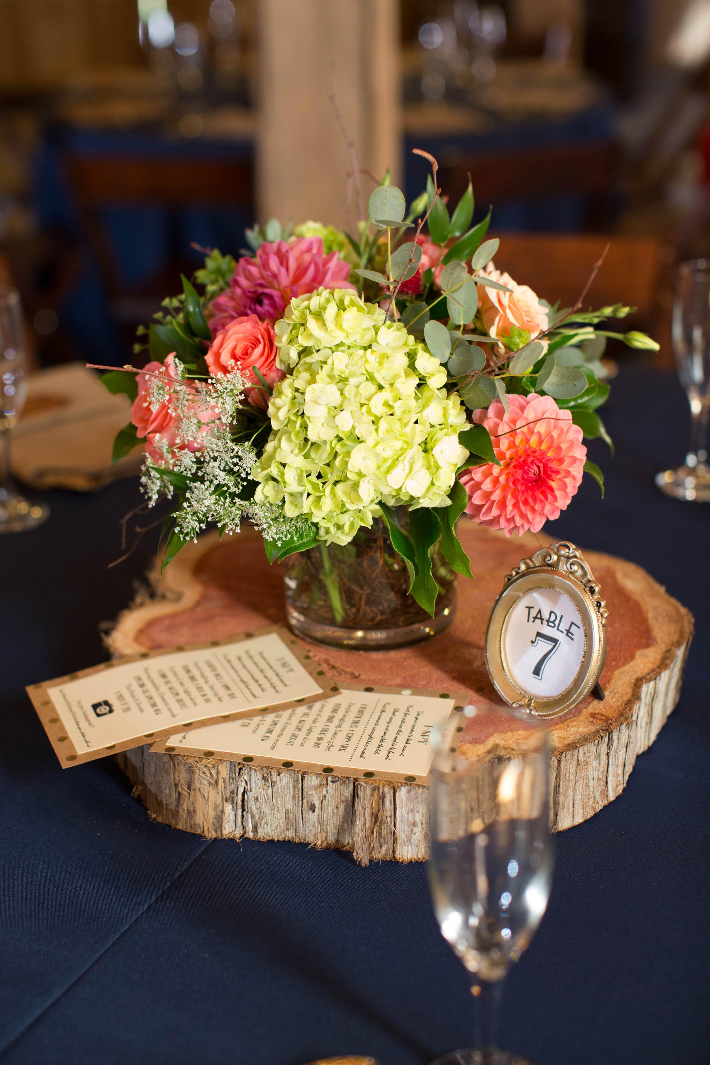 Wedding Centerpiece Cedar Slice Wood Coral Hydrangea Navy