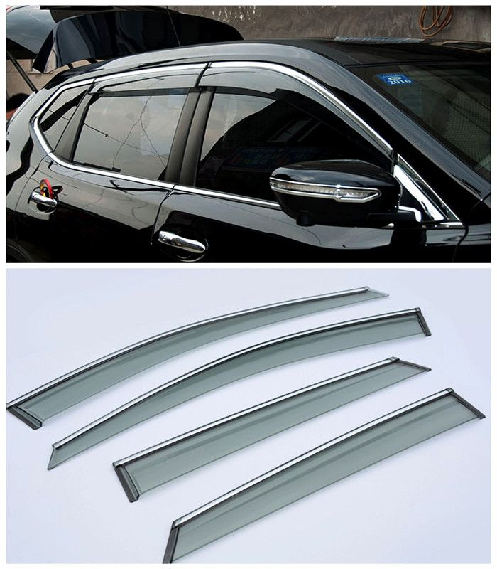 For Nissan Qashqai 2015 2016 Car Window Visor Vent Shade Rain Sun Wind Guard Trim Exterior Car Parts 4pcs New Accessories Nissan Qashqai Car Window Car