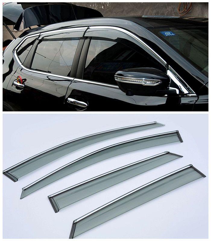 For Nissan Qashqai 2015 2016 Car Window Visor Vent Shade Rain Sun Wind Guard Trim Exterior Car Parts 4pcs New Accessories Nissan Qashqai Car Window Car