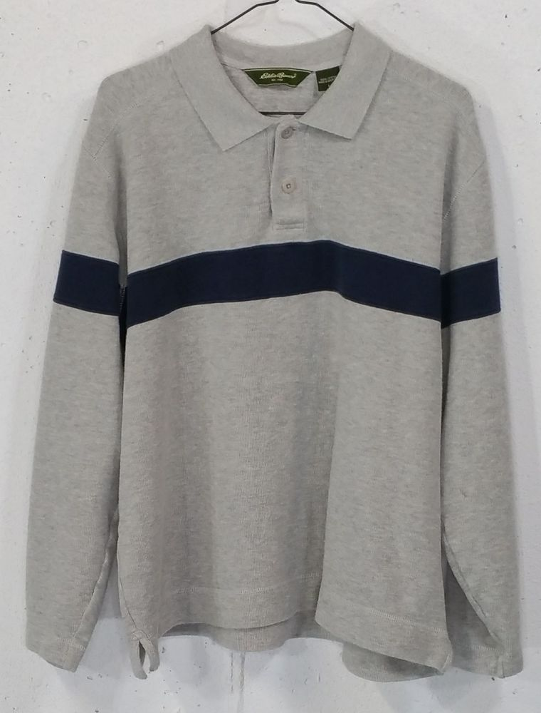 1ea173270 Eddie Bauer Mens Grey Thick Ribbed 100% Cotton Long Sleeve Polo Shirt Large  L  EddieBauer  PoloRugby