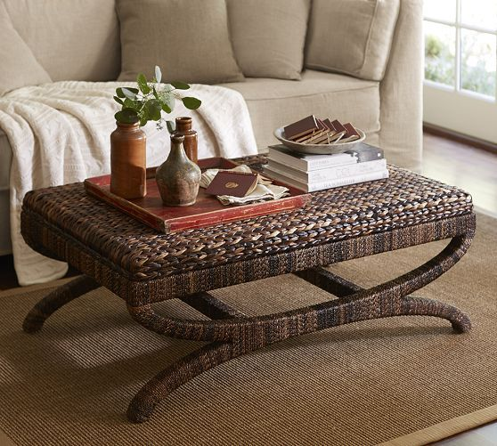 Seagrass Coffee Table Ottoman Pottery Barn Coastal