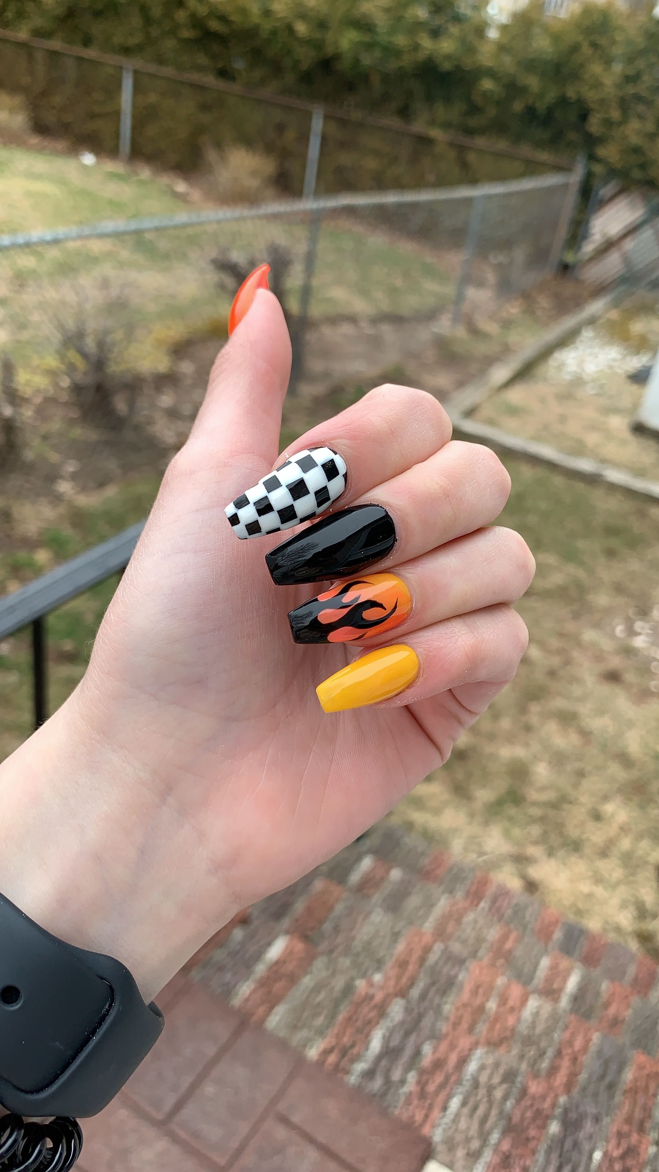 Firenails Checkered Acrylic Orange Nails Checkered Nails Orange Nails Fire Nails