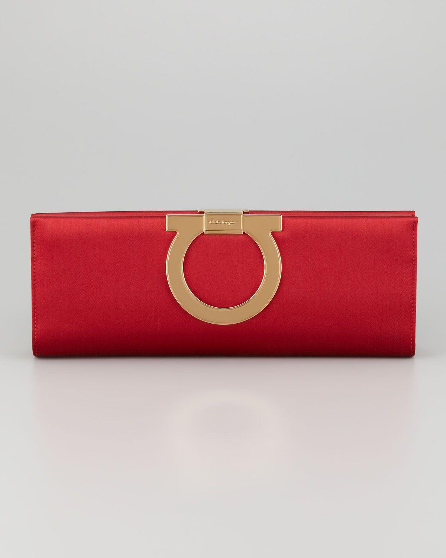 75b96e3f75 Ferragamo Musa Gancini Clutch Bag in Red (medium red) | Handbags ...