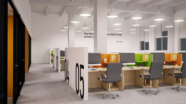 open office interior design. An Idea For Employees, A Short Partition Add On The Side May Give More Privacy To Each Of Them. White Plain Office With Some Contrast Furniture Will Make Open Interior Design