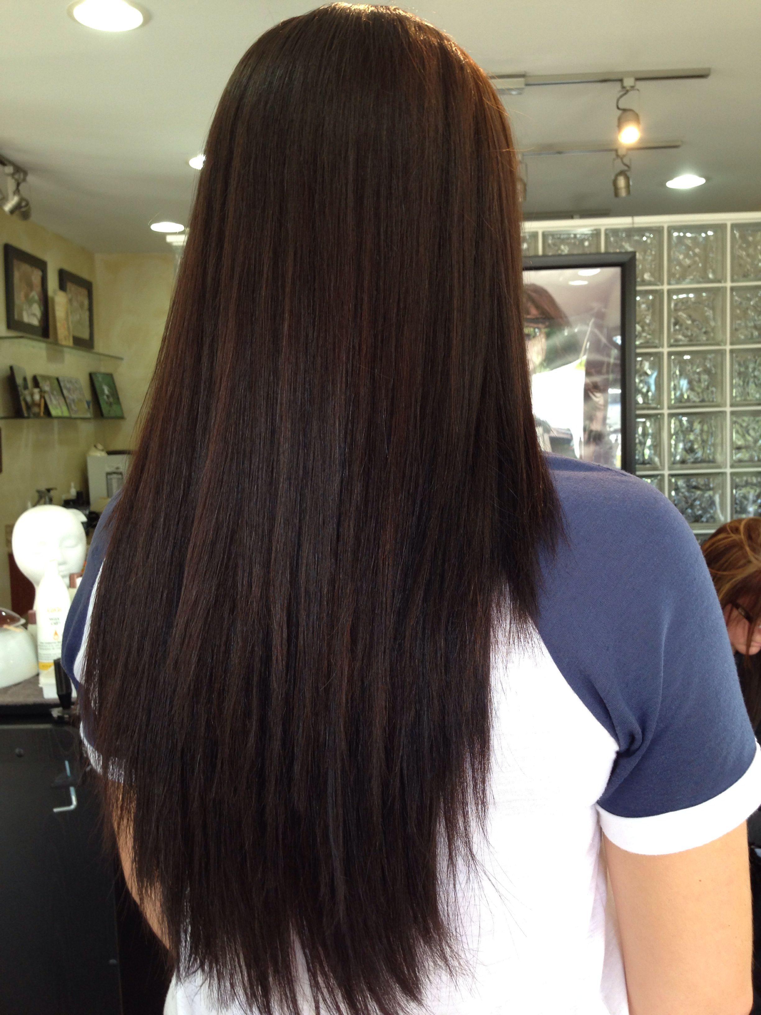 Going darker for fall!! Haircut - long layers with deep angles and haircolor change to a rich dark chocolate brown by Erin @stefania cappella's Studio