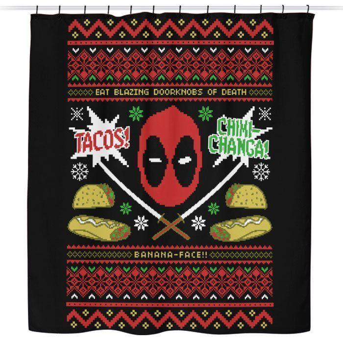 A Very Merc Y Christmas Shower Curtain Christmas Poster Geek